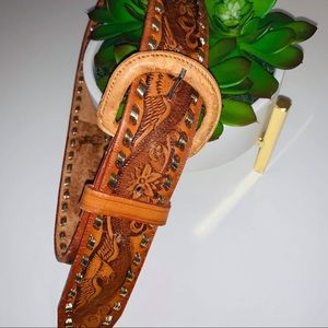 Eagle & Flower Imprinted Tanned Brown Belt 30